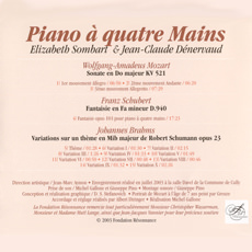 Piano à quatre Mains - Elizabeth Sombart & Jean-Claude Dénervaud